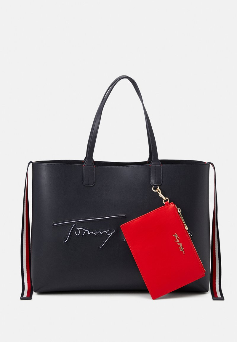 Tommy Hilfiger - ICONIC TOTE SIGNATURE SET - Shoppingveske - blue