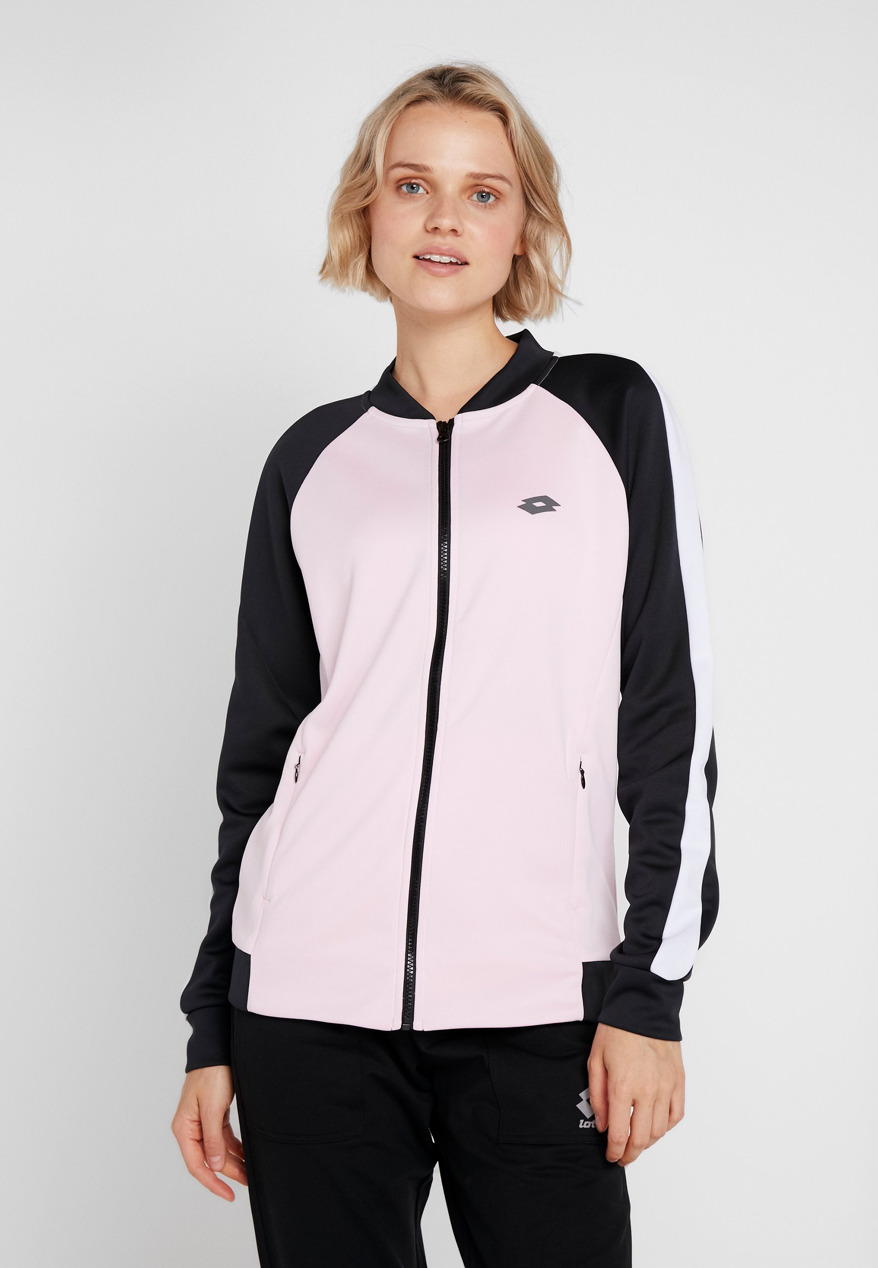 vabene jacket - trainingsjacke - pink cherry/all black