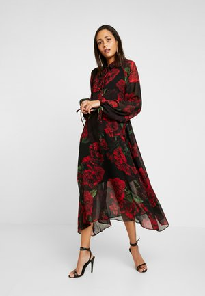 DRAWSTRING MIDI DRESS - Sukienka koszulowa - red