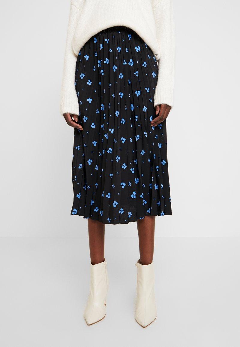 TOM TAILOR DENIM - FLOWER PLISSEE SKIRT - Áčková sukně - black/blue