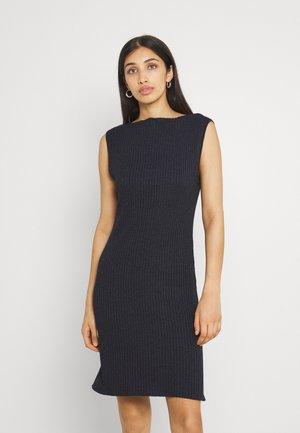 BOAT NECK SIDE SPLIT MINI DRESS - Pletené šaty - blue/black
