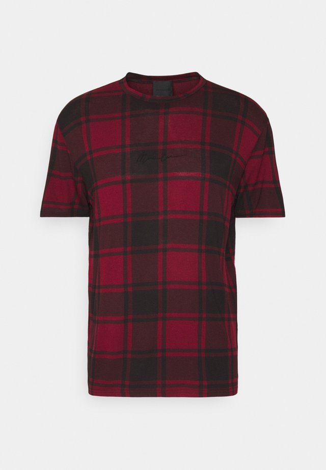 CONTRAST NECK TARTAN  - T-shirt imprimé - red