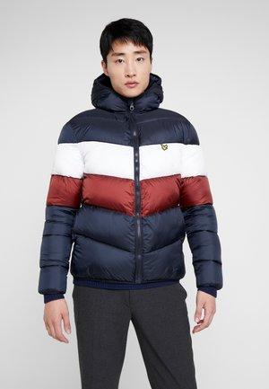 COLOUR BLOCK JACKET - Winter jacket - dark navy/ brick red
