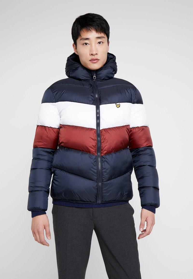 Lyle & Scott - COLOUR BLOCK JACKET - Winter jacket - dark navy/ brick red