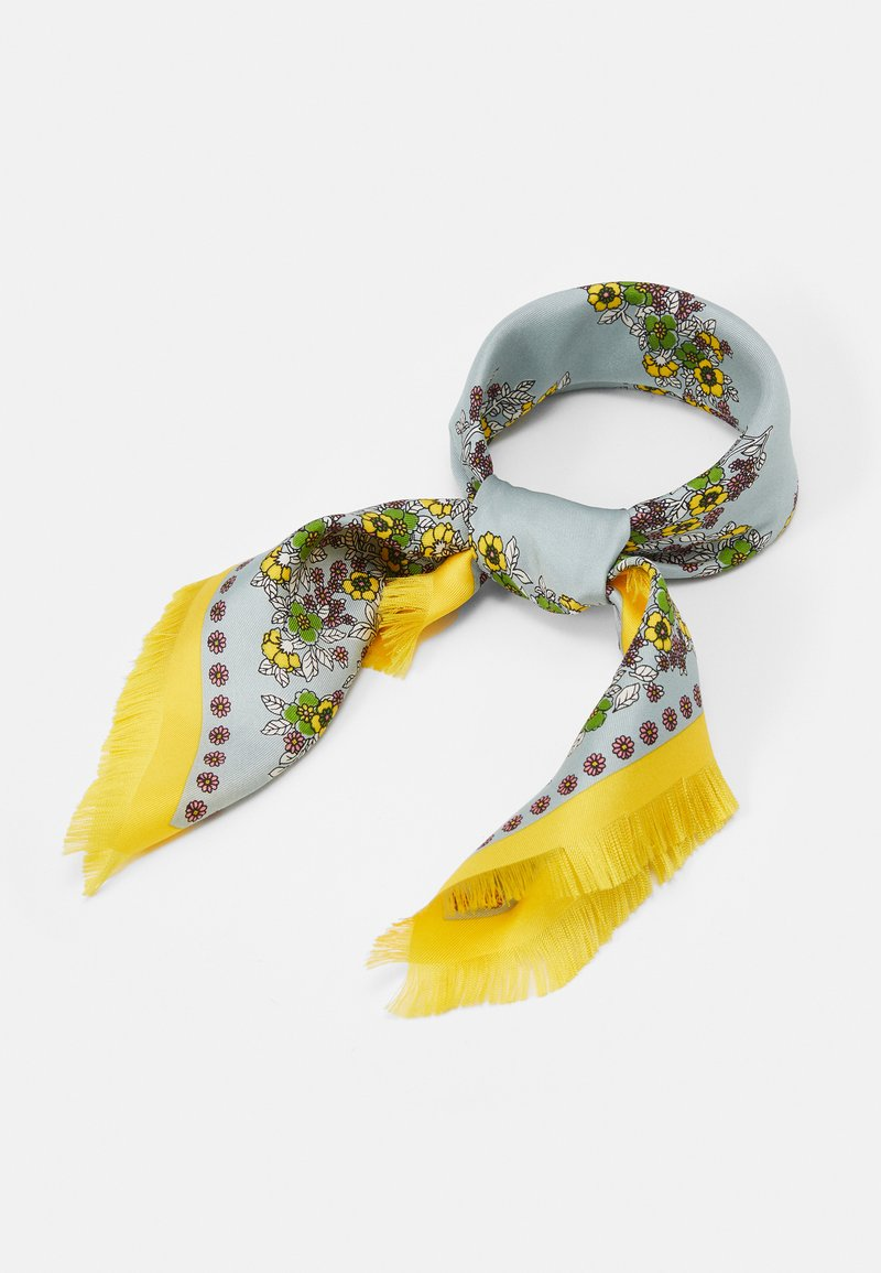 Tory Burch - FLORAL NECKERCHIEF WITH FRINGE - Foulard - pale blue