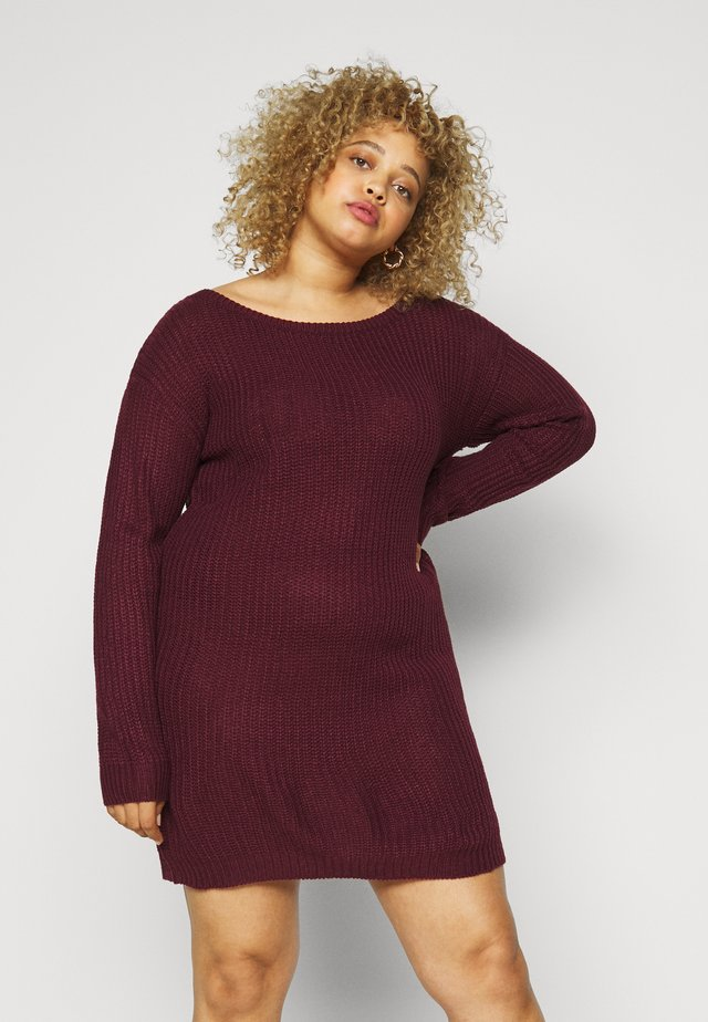 PLUS OFF SHOULDER JUMPER DRESS - Jumper dress - burgundy