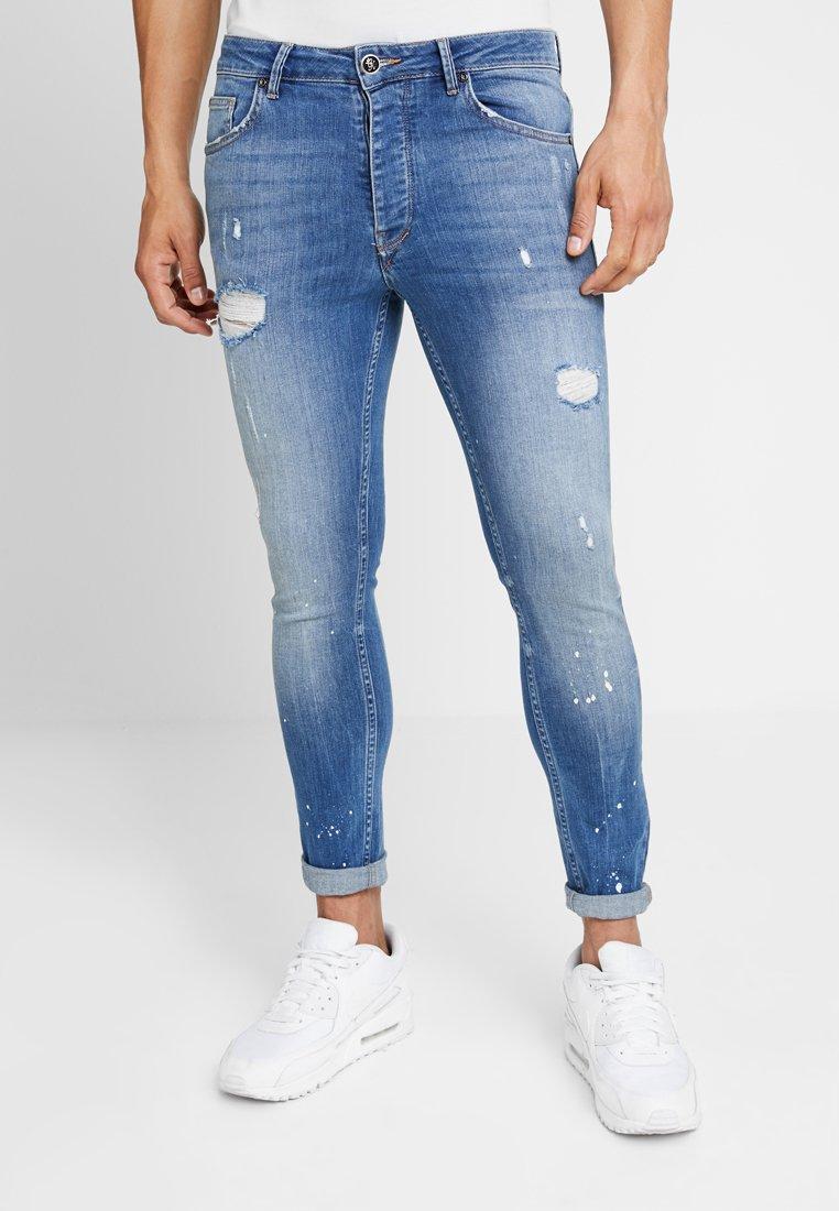 Gym King - SALVATION PAINT SPLATTER - Jeans Skinny Fit - mid blue