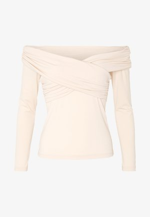 CROSS FRONT LONG SLEEVE - Long sleeved top - natural