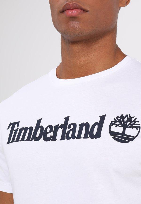 Timberland CREW LINEAR - T-shirt z nadrukiem - white/biały Odzież Męska JDSL