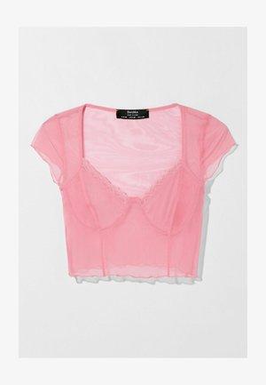 MIT SPITZENKANTE - Blouse - pink