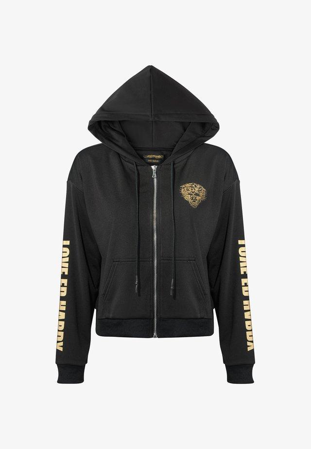 LOVE ED CROP ZIP HOODY - veste en sweat zippée - black