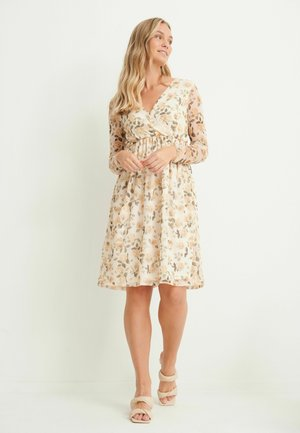 Day dress - yellow with flower print
