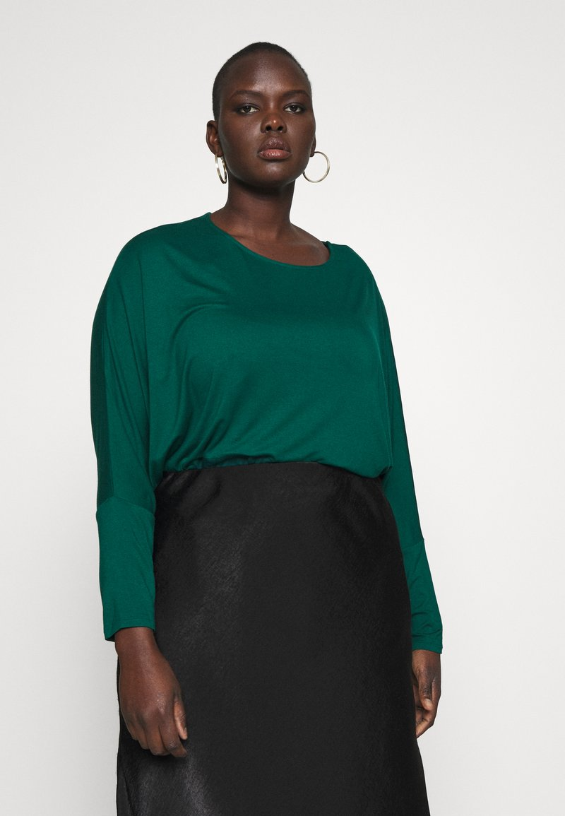 CAPSULE by Simply Be - COLOUR BLOCK HANKY TUNIC - Long sleeved top - forest green