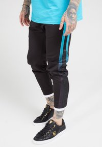 SIKSILK - FITTED TAPE TRACK PANTS - Tracksuit bottoms - black/teal - 4