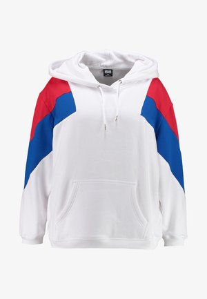 LADIES OVERSIZE TONE BLOCK - Mikina skapucí - white/fire red/bright blue