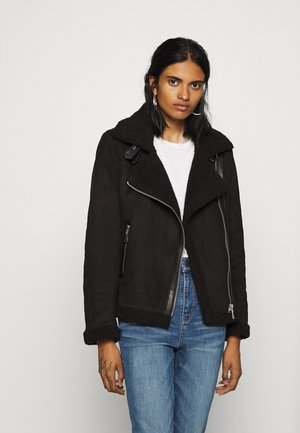 ONLDIANA BONDED AVIATOR JACKET - Faux leather jacket - black