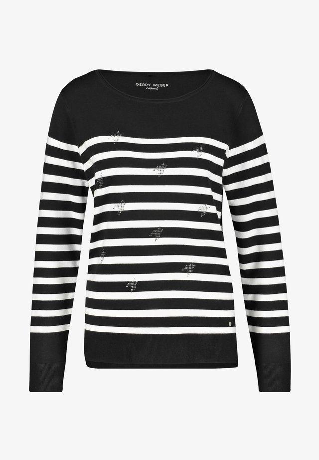 MIT STEINCHENZIER - Pullover - schwarz/ecru/weiss ringel