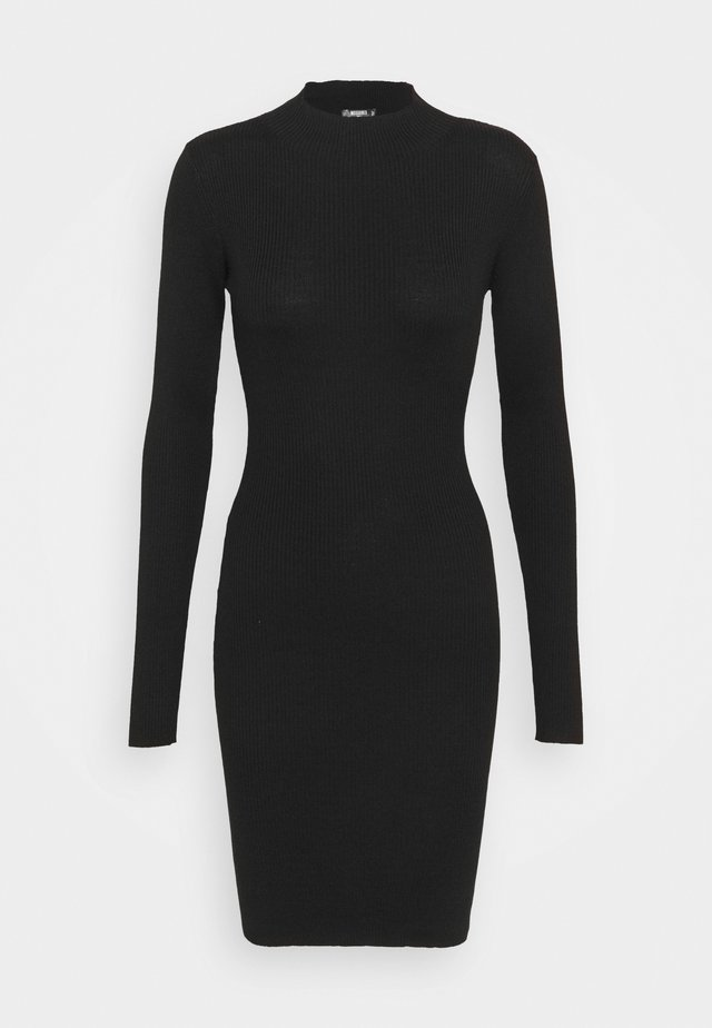 HIGH NECK MINI DRESS - Pletené šaty - black
