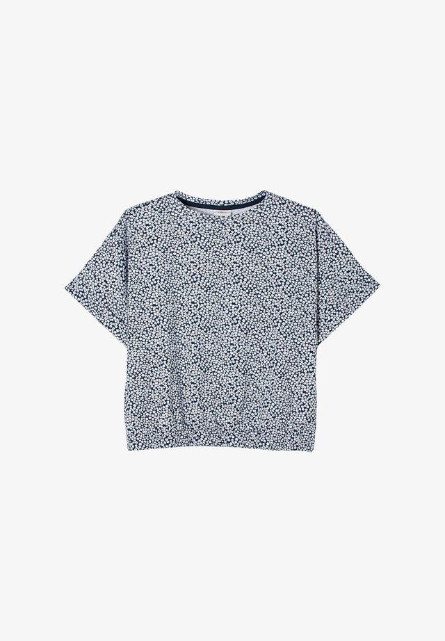 T-shirt print - dark blue millefleurs