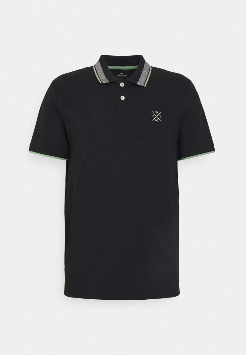 TOM TAILOR - UNDERCOLLAR WORDING - Polo shirt - black
