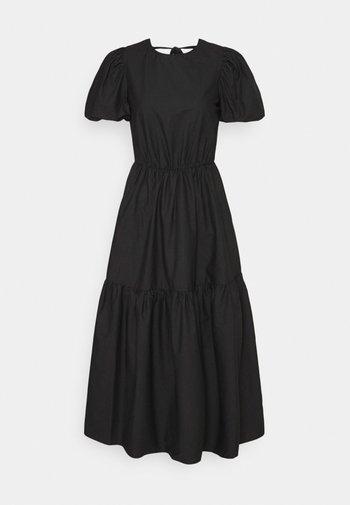 TIE BACK PUFF SLEEVE MIDAXI SMOCK DRESS - Day dress - black