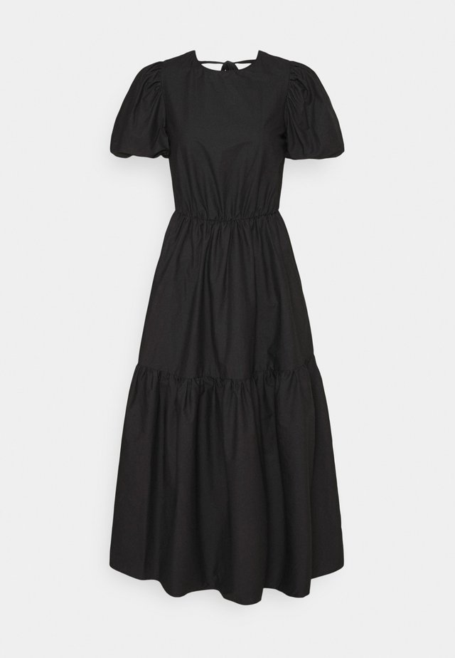 TIE BACK PUFF SLEEVE MIDAXI SMOCK DRESS - Sukienka letnia - black
