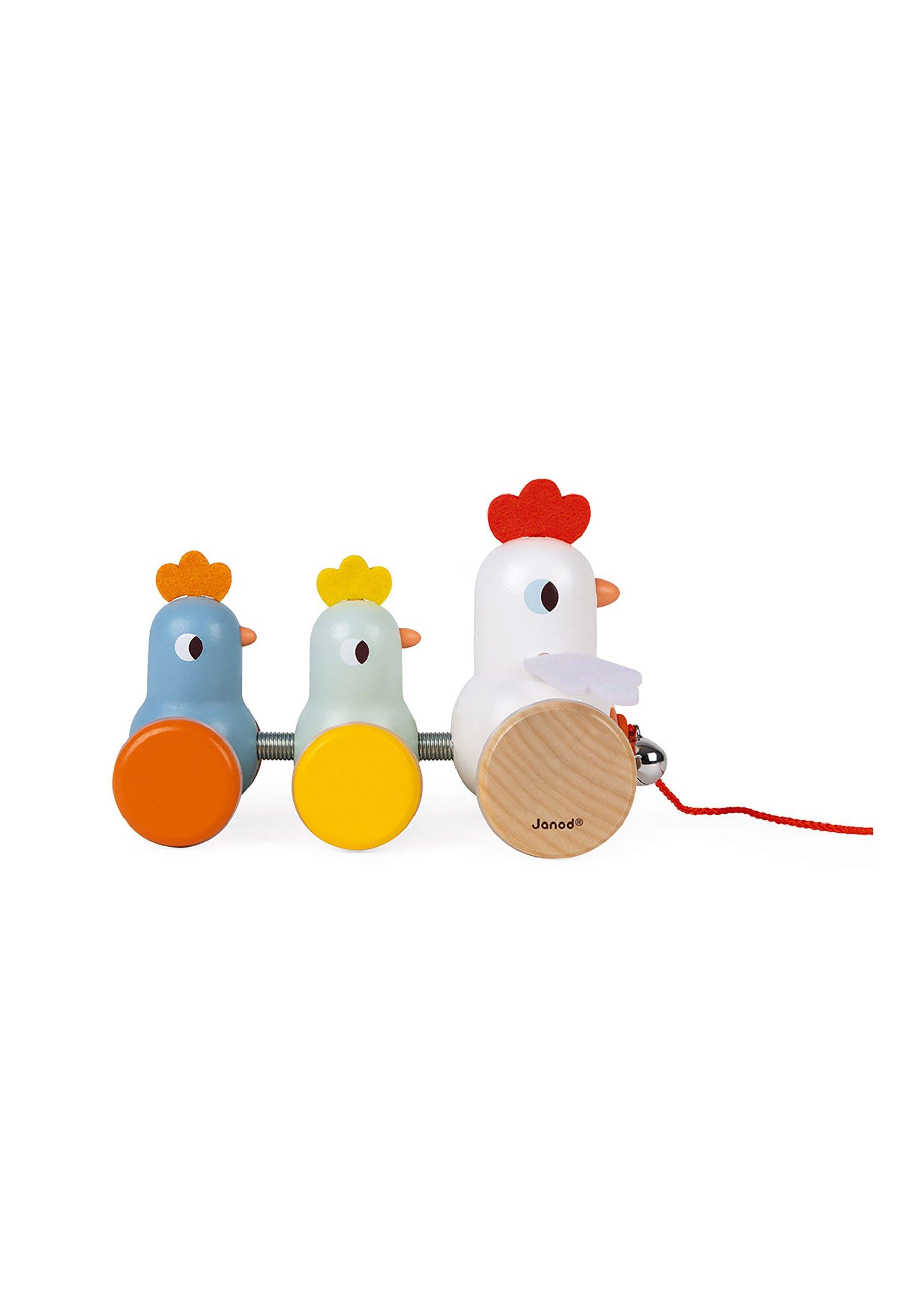 Kinder ZIEH- UND NACHZIEHTIER HÜHNER - Holzspielzeug