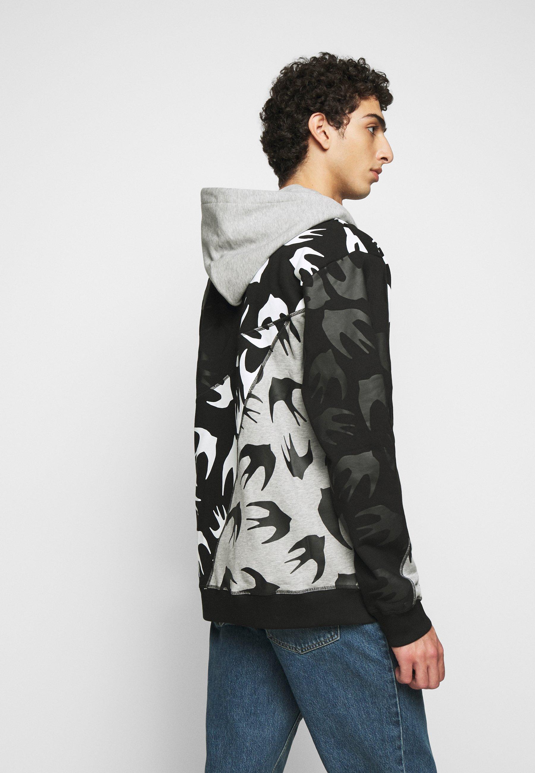 Mcq Alexander Mcqueen Cut Up Hood - Kapuzenpullover Black/grey
