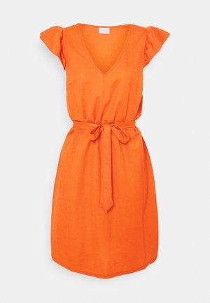 VIWANDERA  V NECK SHORT DRESS - Day dress - burnt ochre