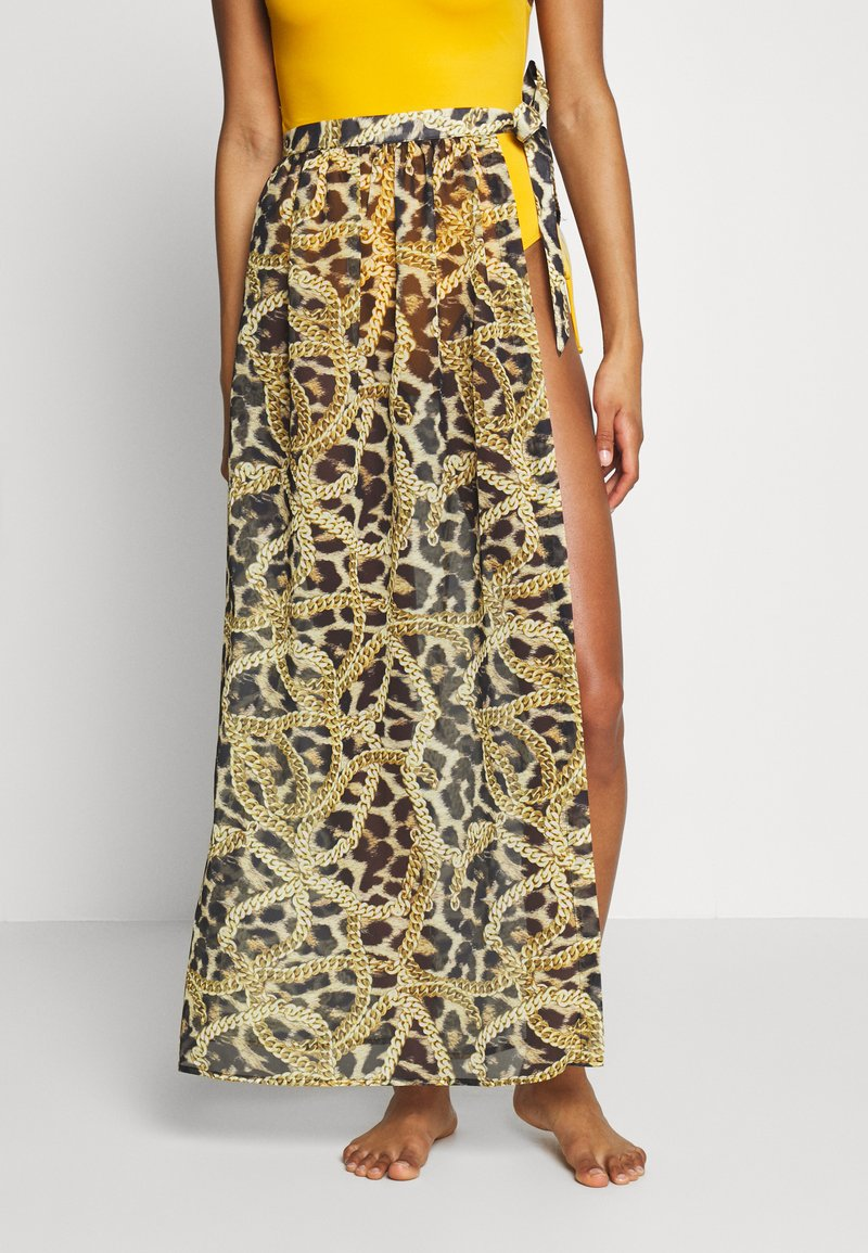 Wolf & Whistle - TIGER AND CHAIN ANIMAL BEACH SKIRT - Complementos de playa - brown