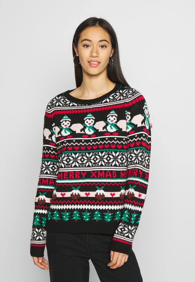 XMAS FAIRISLE JUMPER - Neule - black