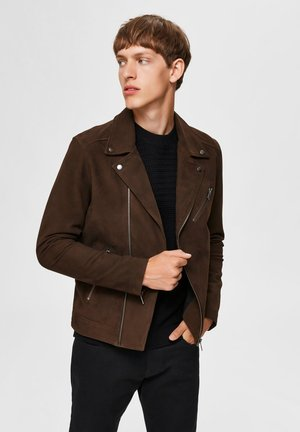 Leather jacket - coffee bean