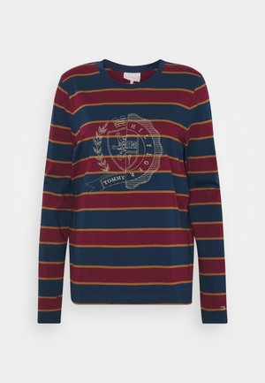 ICON STRIPE TEE - T-shirt à manches longues - rugby/deep rouge