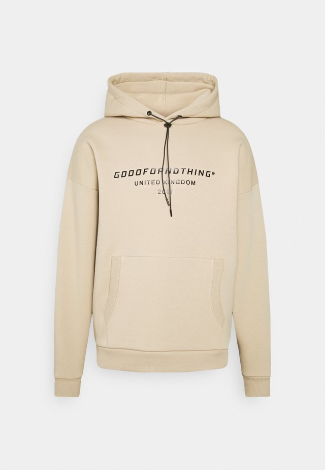 OVERSIZED INJECTION MOULD BRANDED HOOD UNISEX - Sweatshirt - beige