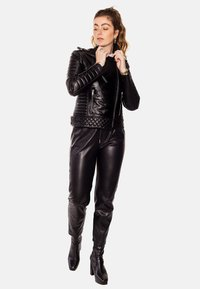 LEATHER HYPE - ALEX PERFECTO - Leather jacket - black with light silver accessories - 4