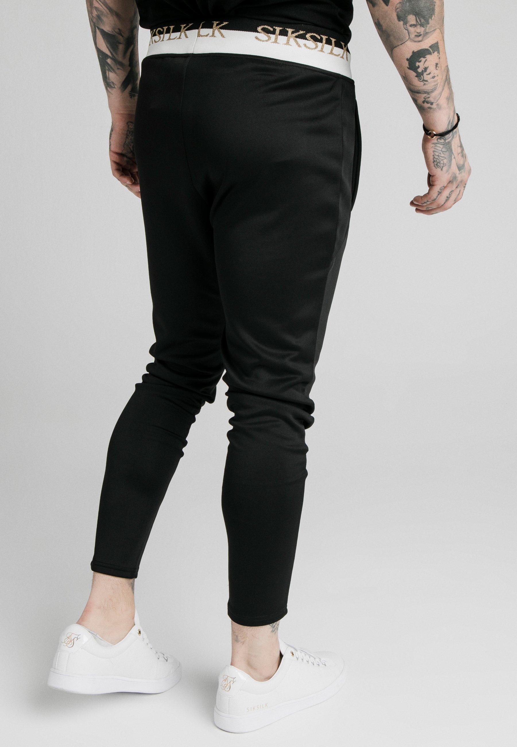 SIK SILK FITTED PANEL TAPE TRACK PANTS – BLACK Klesbutikk