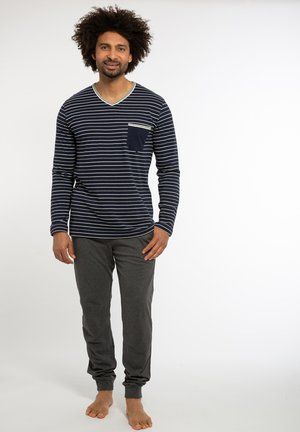 SET - Pyjama set - blau gestreift / grau
