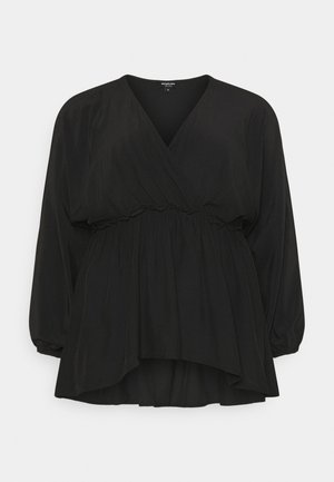 BATWING SLEEVE WRAP BLOUSE - Pusero - black