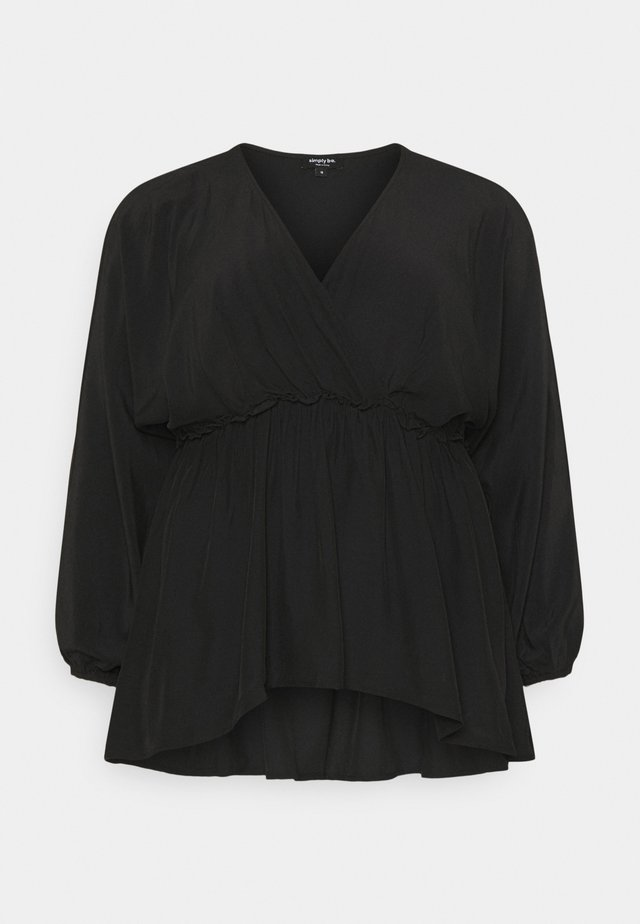 BATWING SLEEVE WRAP BLOUSE - Bluser - black