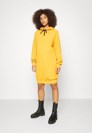 GATHERED HOODY - Jerseyklänning - tangerine