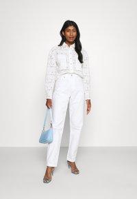 River Island - DENVER CROPPED SHACKET - Button-down blouse - white - 1
