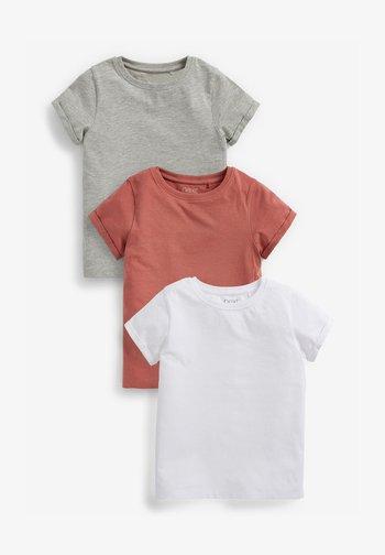 3 PACK - Basic T-shirt - white/burnt orange denim/grey