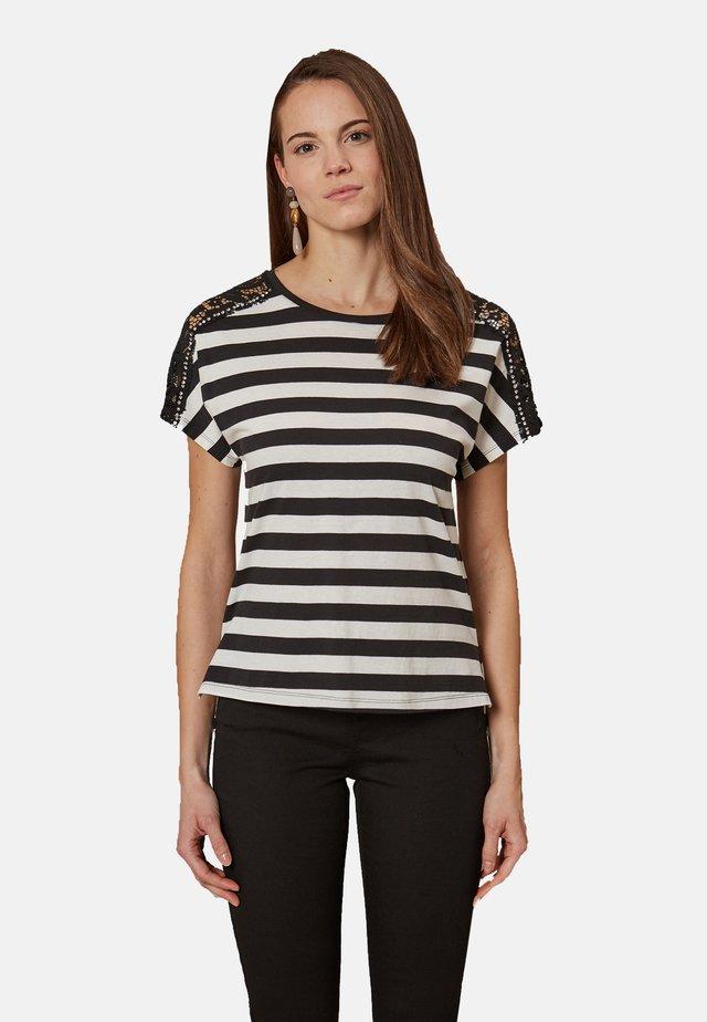 MIT SPITZE UND STEINEN - Print T-shirt - nero