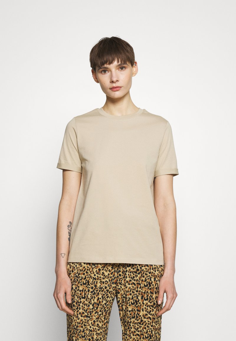 Pieces - PCRIA FOLD UP SOLID TEE - Basic T-shirt - white pepper