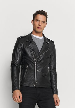 DAVID BIKER - Leather jacket - black