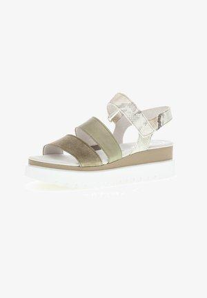 Platform sandals - mottled light green/white