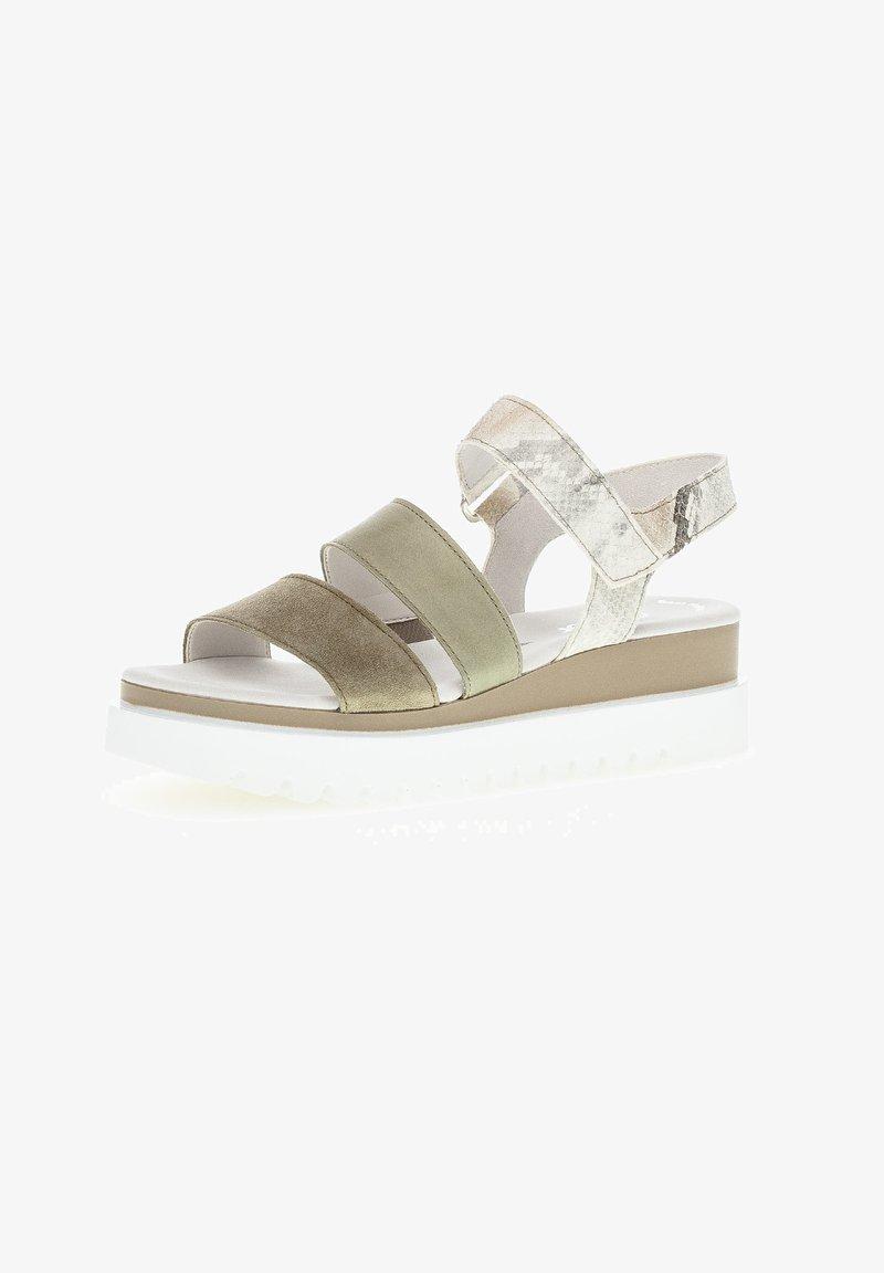 Gabor - Platform sandals - mottled light green/white