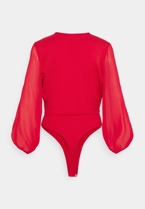 NU-IN BALLOON SLEEVE V NECK BODYSUIT - Bluzka - scarlet red/czerwony IUFF