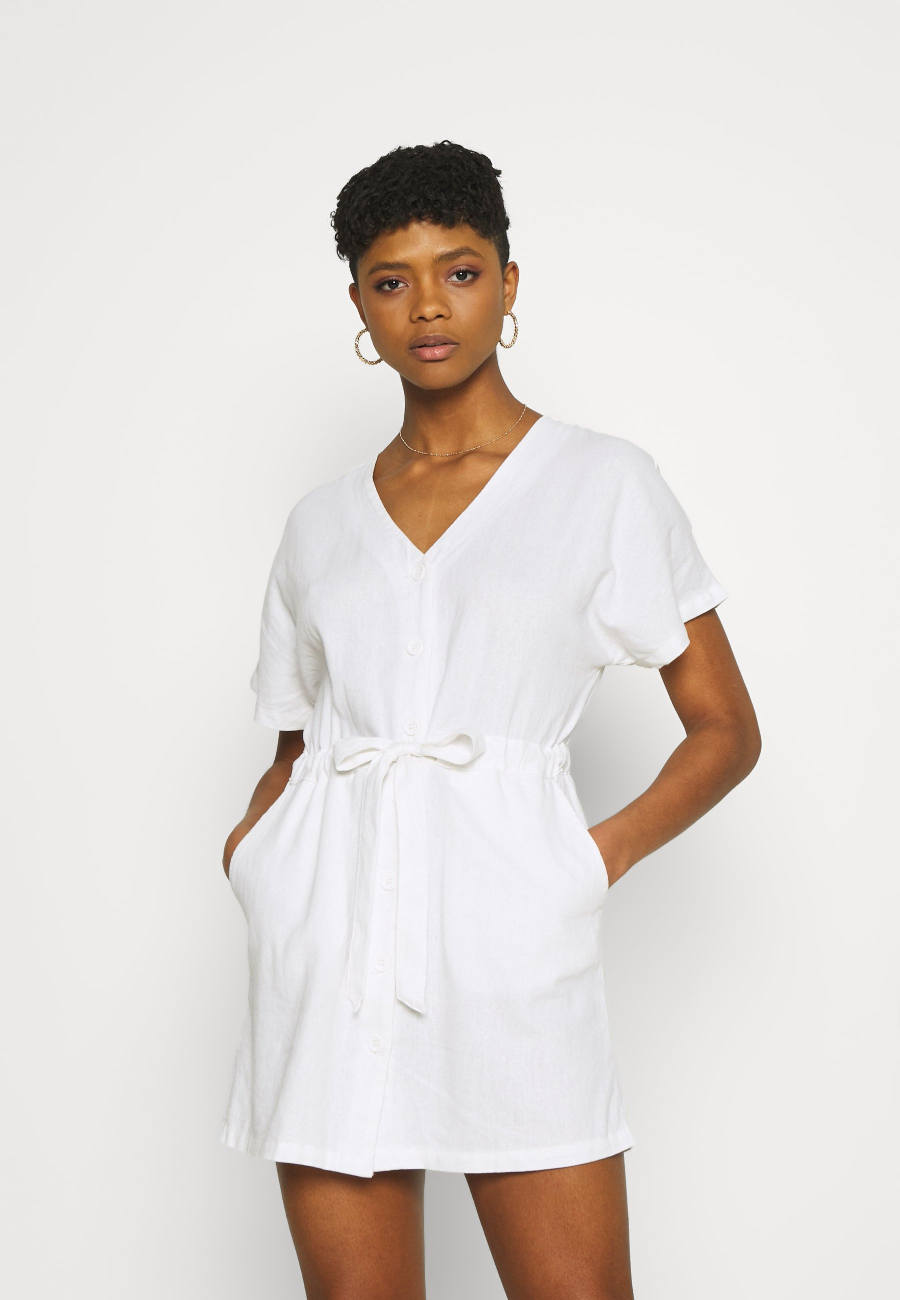 Women LENA SHORT SLEEVE UTILITY SHIRT MINI DRESS - Day dress