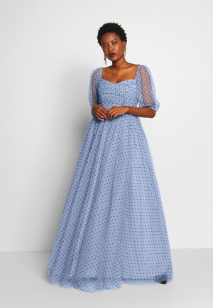 OFF SHOULDER PUFF SLEEVE MAXI DRESS - Abito da sera - pale blue spot